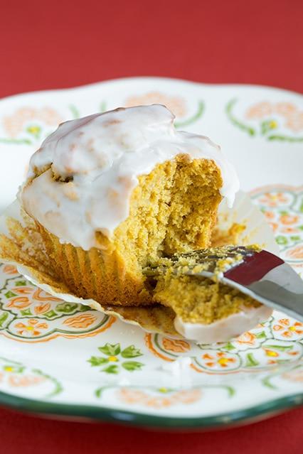 Pumpkin Doughnut Muffins with Vanilla Glaze | Cooking Classy