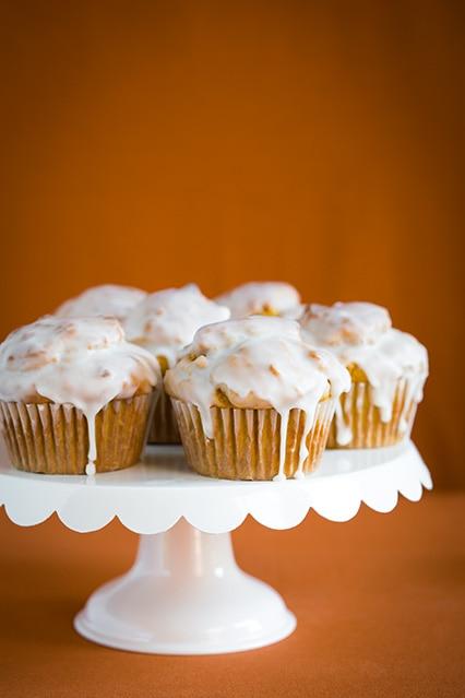 Pumpkin Doughnut Muffins with Vanilla Glaze - Cooking Classy