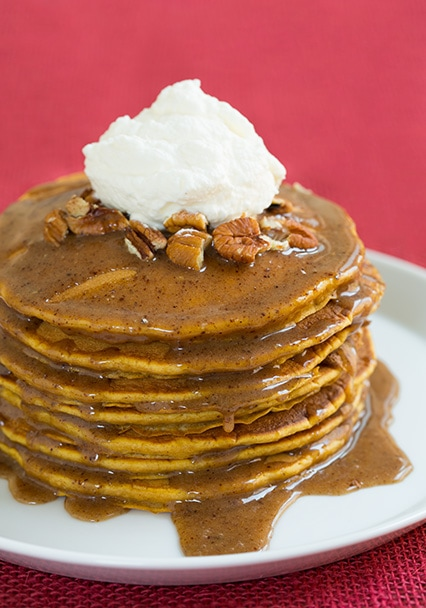 Pumpkin Pancakes with Browned Butter Pecan Syrup | Cooking Classy