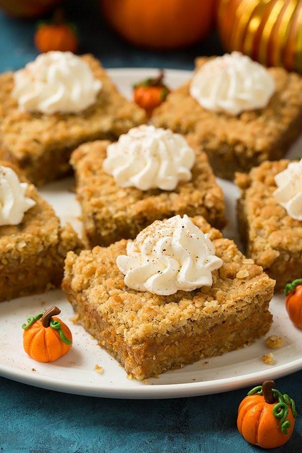 Pumpkin Pie Crumb Bars | Cooking Classy