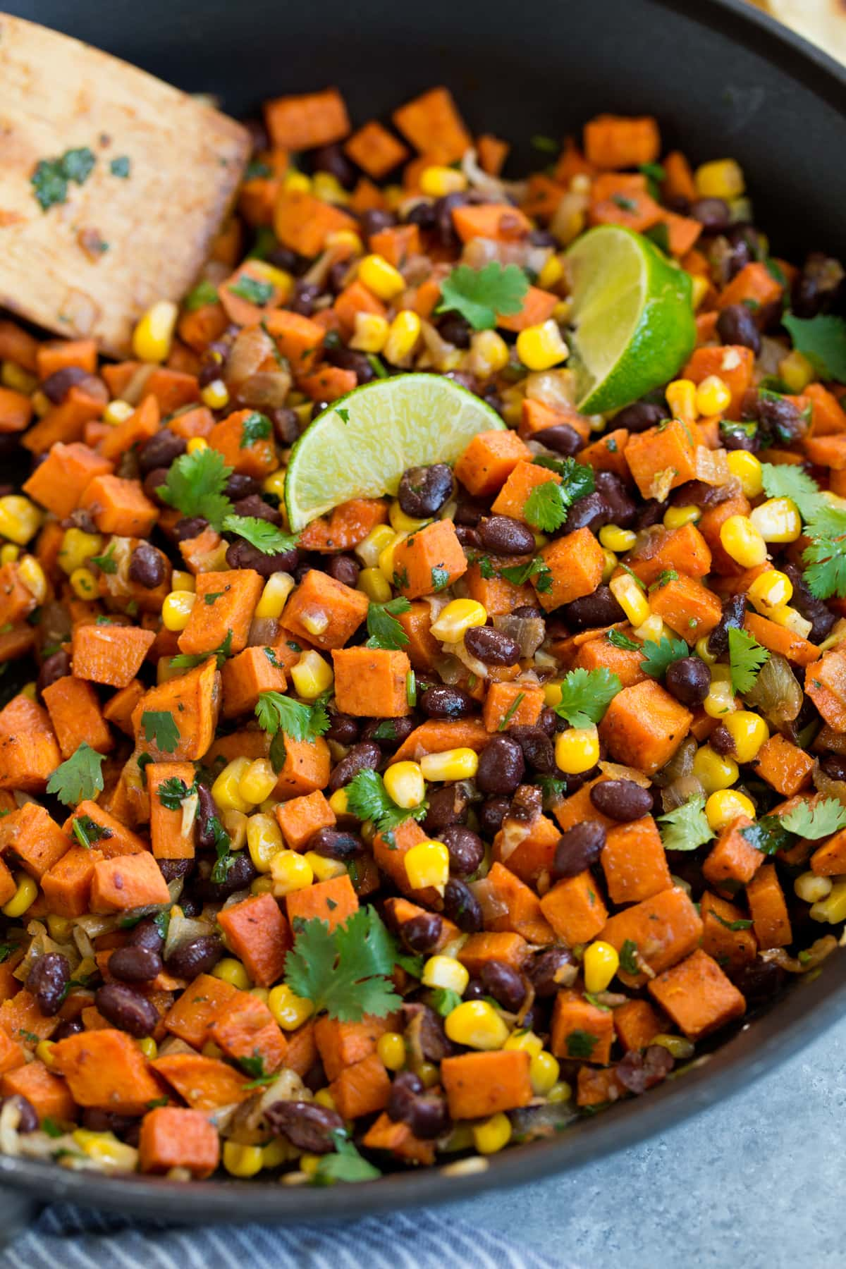 Healthy vegetarian taco filling mixture in skillet.