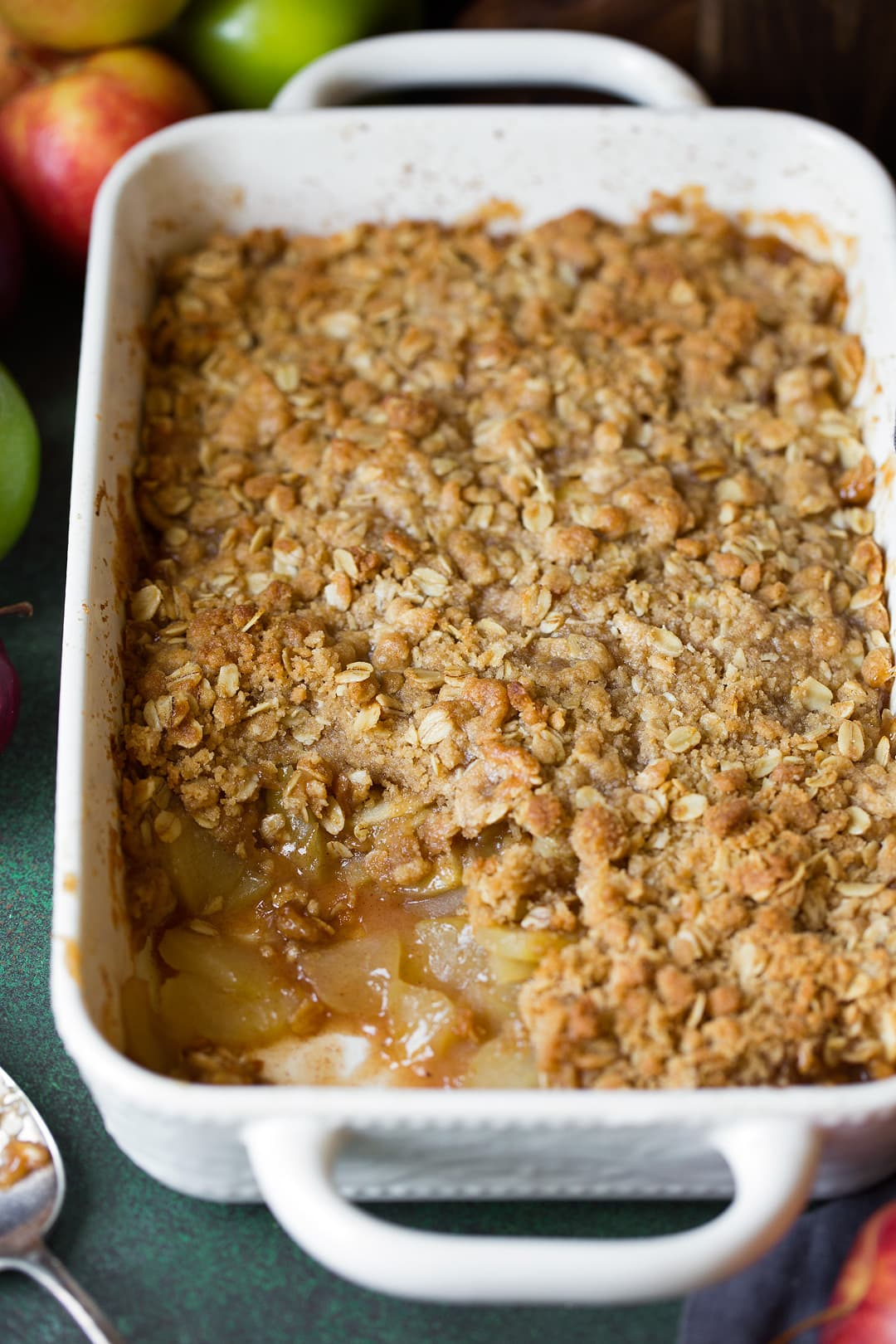 easy apple crisp in a white casserole dish