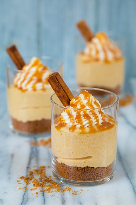 No Bake Pumpkin Cheesecakes with Caramel Sauce | Cooking Classy