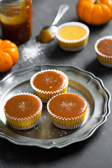 Pumpkin Cheesecake Cupcakes with Salted Caramel Sauce | Cooking Classy