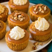Mini Pumpkin Cheesecakes with Salted Caramel Sauce | Cooking Classy