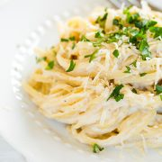 Roasted Cauliflower Fettuccine Alfredo {a healthier and lighter alternative} | Cooking Classy