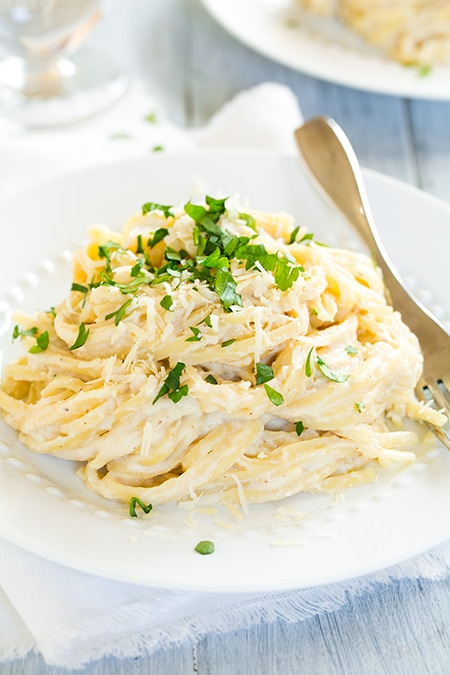 Roasted Cauliflower Fettuccine Alfredo {a healthier and lighter alternative} | Cooking Classy