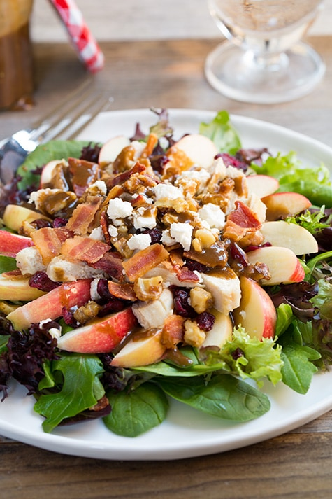 Apple-Feta Salad with Chicken, Bacon and Walnuts and Balsamic Vinaigrette   Cooking Classy