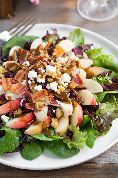 Apple Feta Salad With Chicken Bacon And Walnuts And Balsamic Vinaigrette Cooking Classy