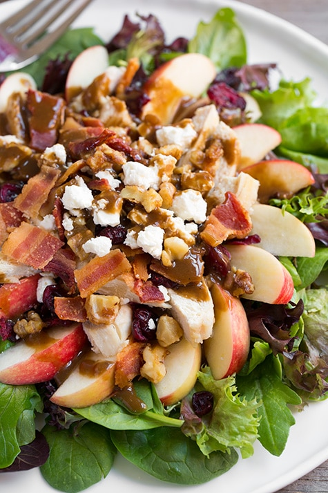 Apple-Feta Salad with Chicken, Bacon and Walnuts and Balsamic Vinaigrette | Cooking Classy