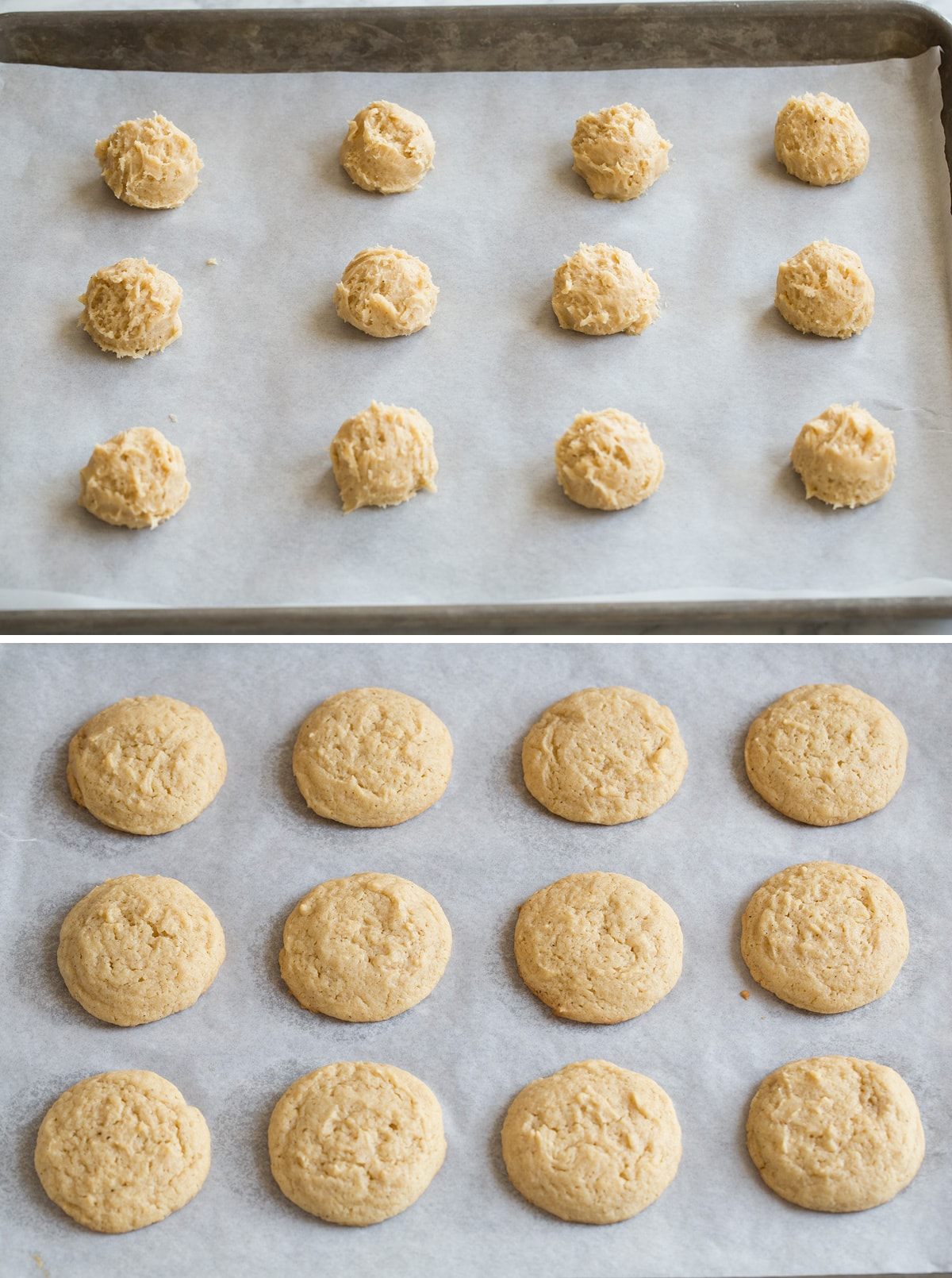 Eggnog Cookies shown here before and after baking on parchment paper lined baking sheet.