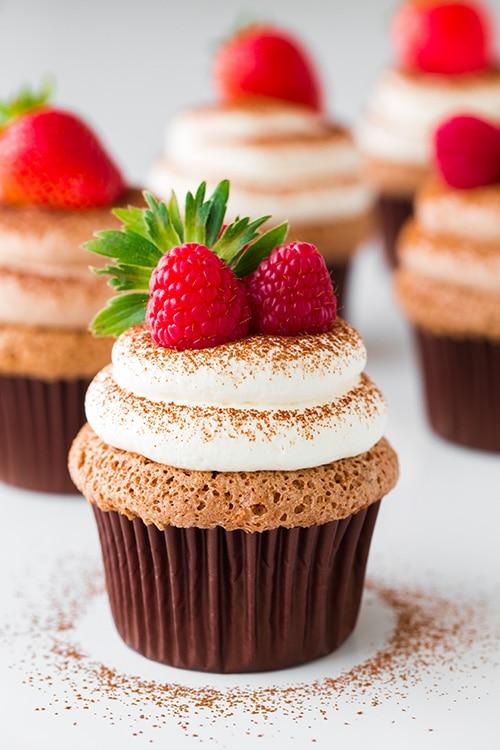 Chocolate Angel Food Cupcakes with Chocolate Cream Cheese ...