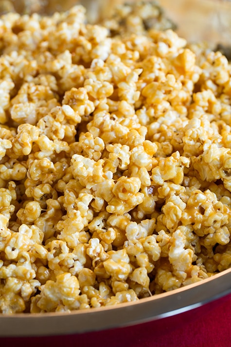 Close up image of caramel popcorn.