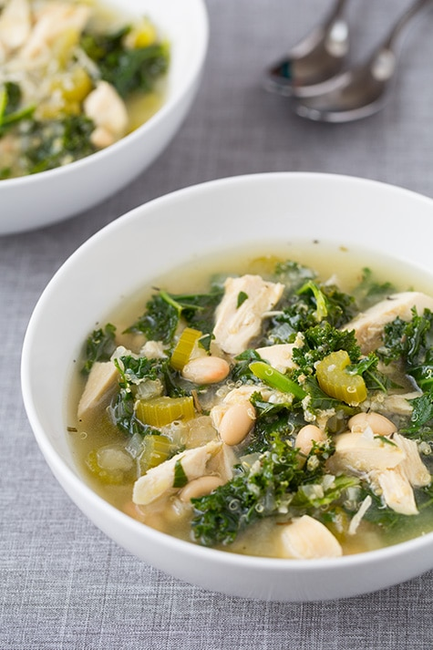 Pull out the slow cooker and whip up this hearty Quinoa, Chicken and Kale soup - it's perfect for fall. PLUS click through to see 20 other healthy quinoa recipes to enjoy this season!