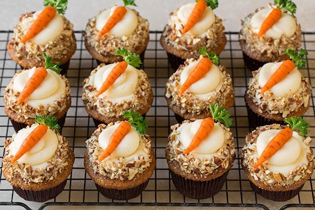 Carrot Cake Cupcakes with Cream Cheese Frosting - Cooking ...