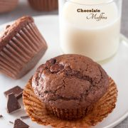 Chocolate Chocolate Chip Muffins | Cooking Classy