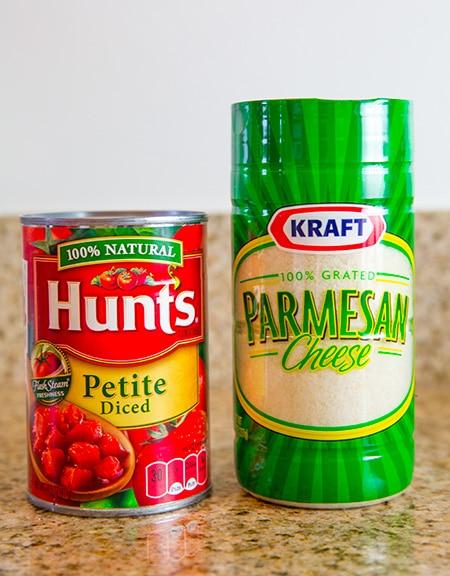 Kraft Parmesan and Hunts Tomatoes