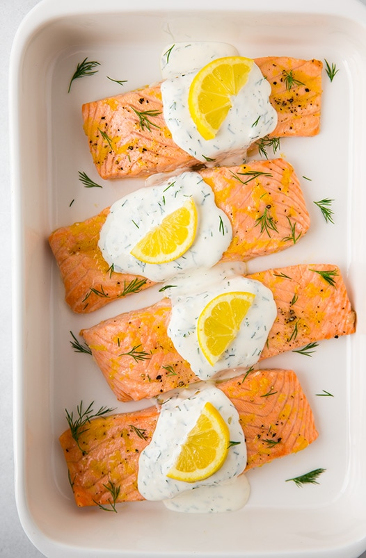lemon Salmon in white baking dish