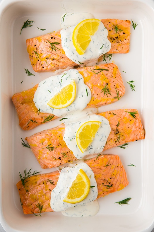 Lemon Dill Salmon topped with yogurt dill sauce