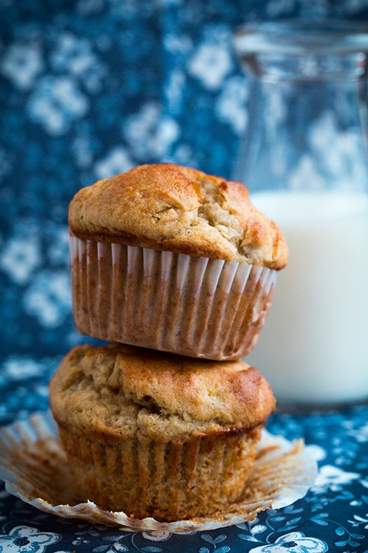 stack of two gluten free banana muffins