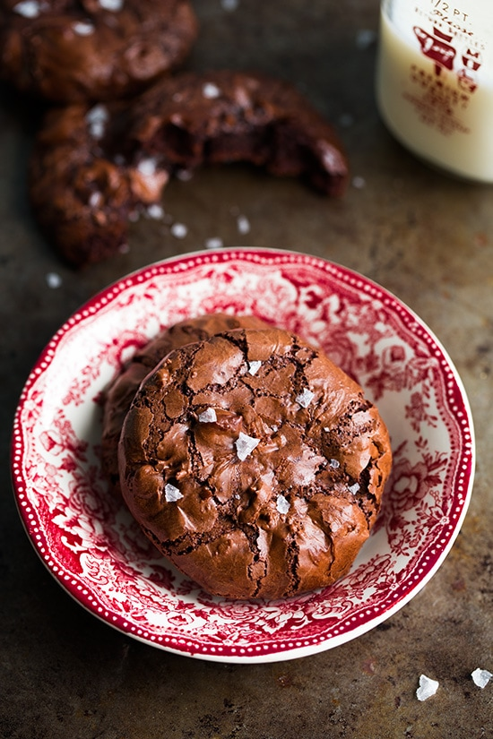 Flourless Chocolate Cookies on a red and white plate