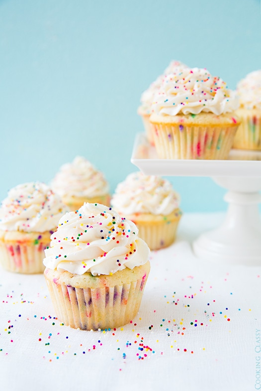 Funfetti Cupcakes topped with vanilla buttercream and sprinkles