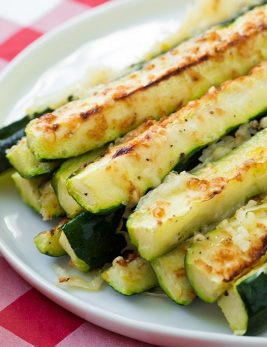 A close up of oven roasted zucchini