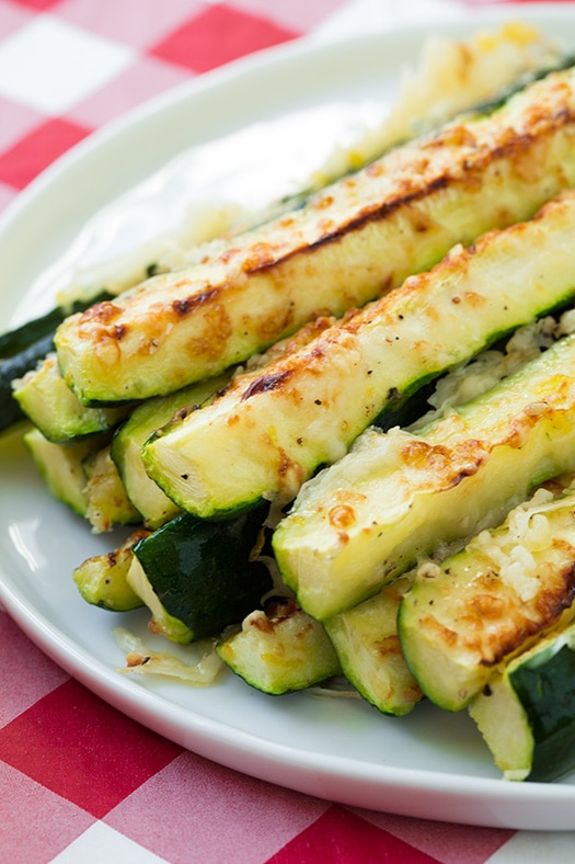Baked Zucchini Sticks with Parmesna on Plate