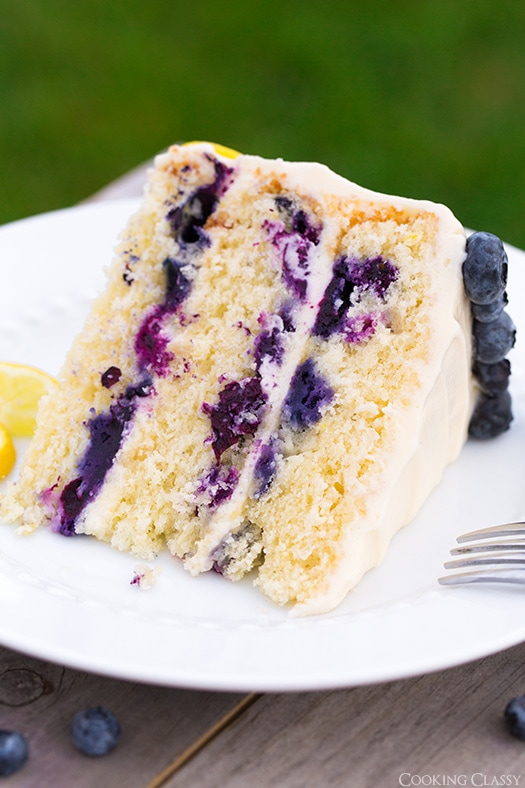 close up of Lemon Blueberry Cake slice