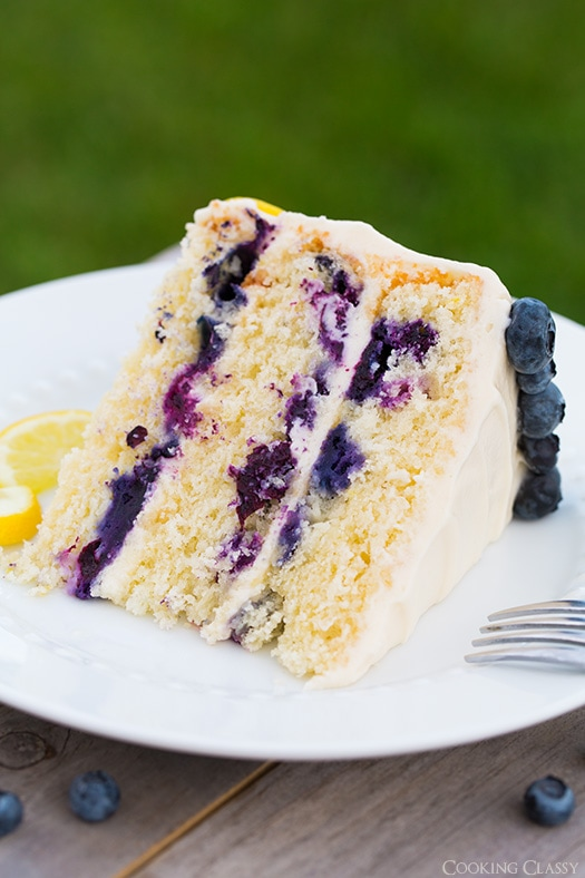 slice of Lemon Blueberry Cake on white plate