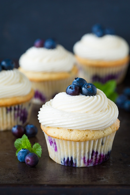 Blueberry Cupcakes with Cream Cheese Frosting - Cooking Classy