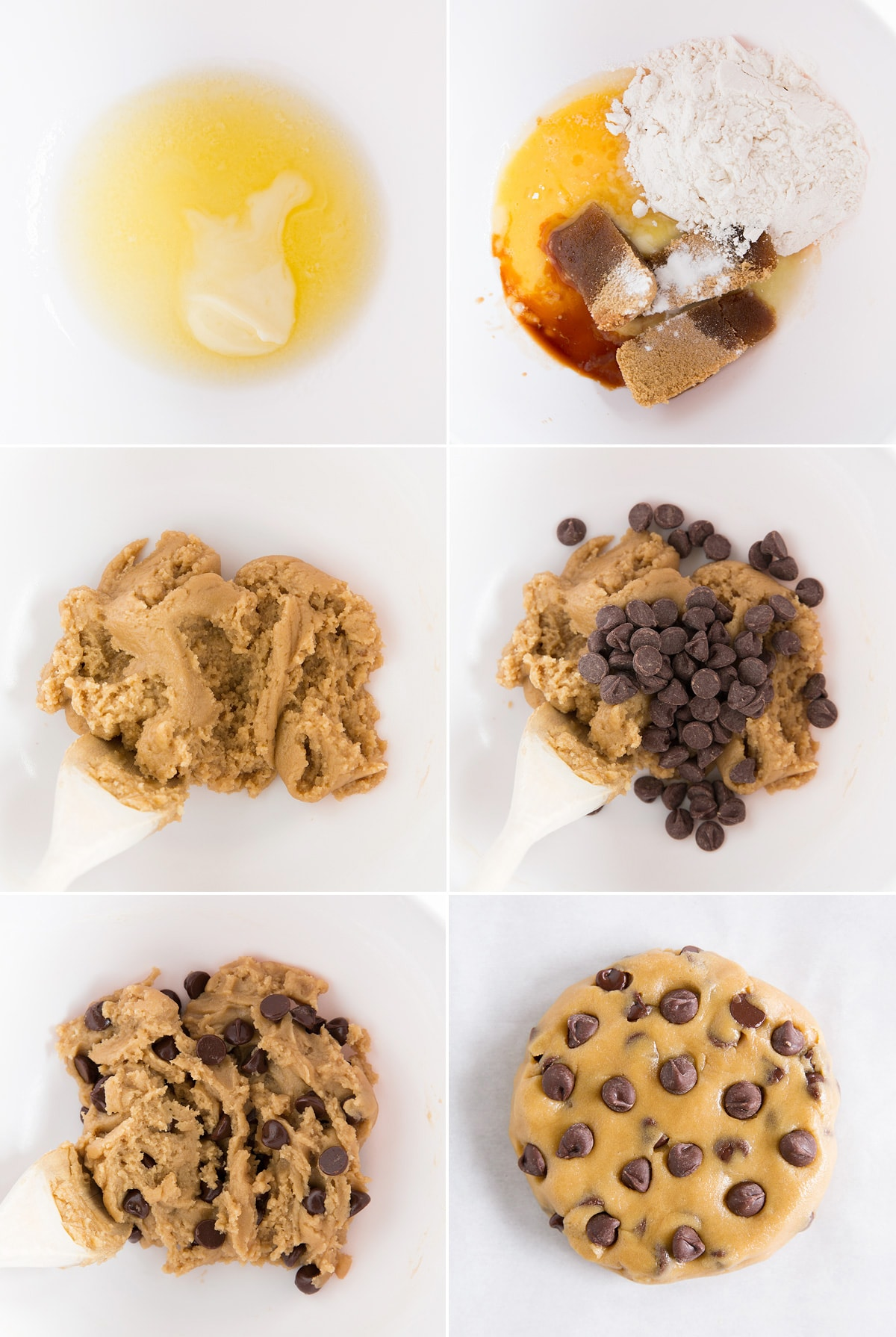 Steps to making a single chocolate chip cookie. Shown preparing dough in a mixing bowl and shaping dough into a round on parchment paper.