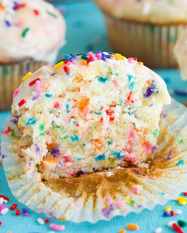 Glazed Funfetti Muffins | Cooking Classy