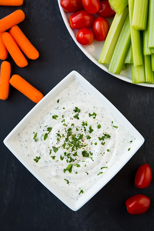 Greek Yogurt Ranch Dip with veggies