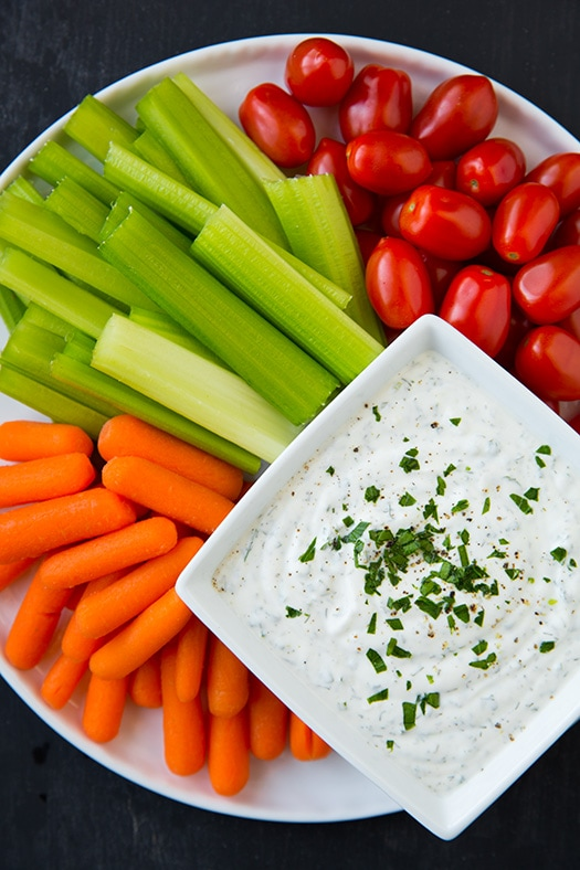 Greek Yogurt Ranch Dip in bowl on vegetable plate