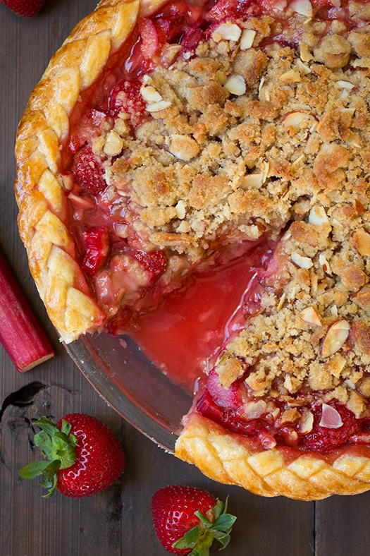 Strawberry Rhubarb Pie with Almond Crumble | Cooking Classy