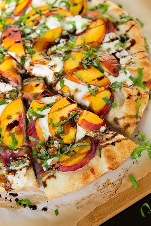 sliced Peach and Prosciutto Pizza