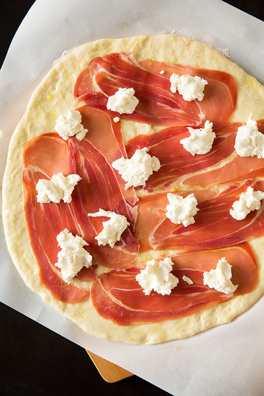 Three Cheese Peach and Prosciutto Pizza with Basil and ...