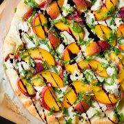Three Cheese Peach and Prosciutto Pizza with Basil and Honey Balsamic Reduction | Cooking Classy
