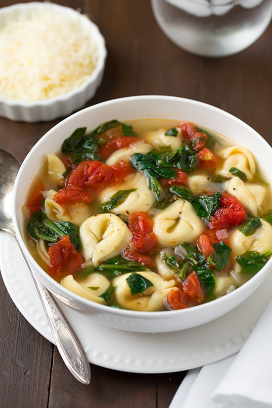 Fresh Spinach Tomato and Garlic Tortellini Soup | Cooking Classy
