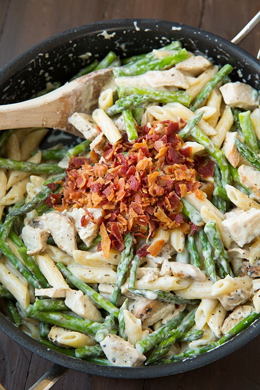 creamy chicken bacon pasta in skillet