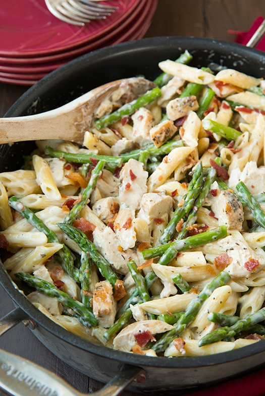 Chicken Asparagus Pasta in skillet