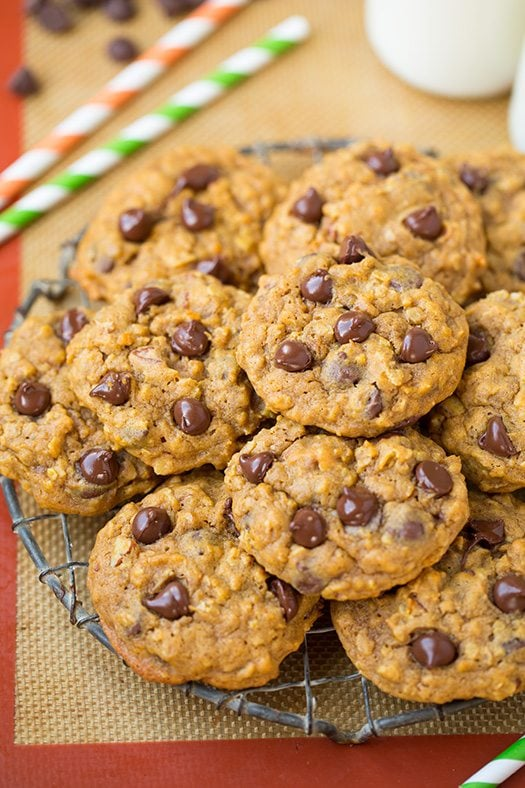 Pumpkin-Oat Chocolate Chip Cookies | Cooking Classy
