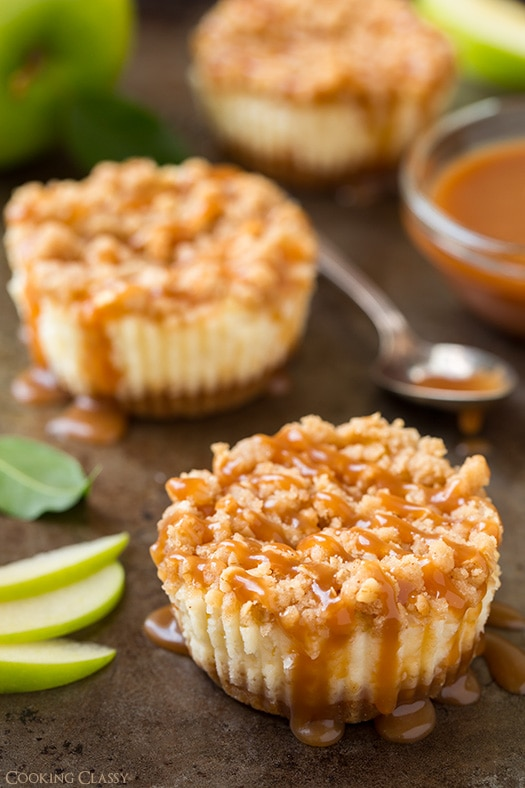 Caramel Apple Mini Cheesecakes With Streusel Topping Cooking Classy