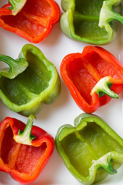 bell peppers halved for healthy stuffed peppers