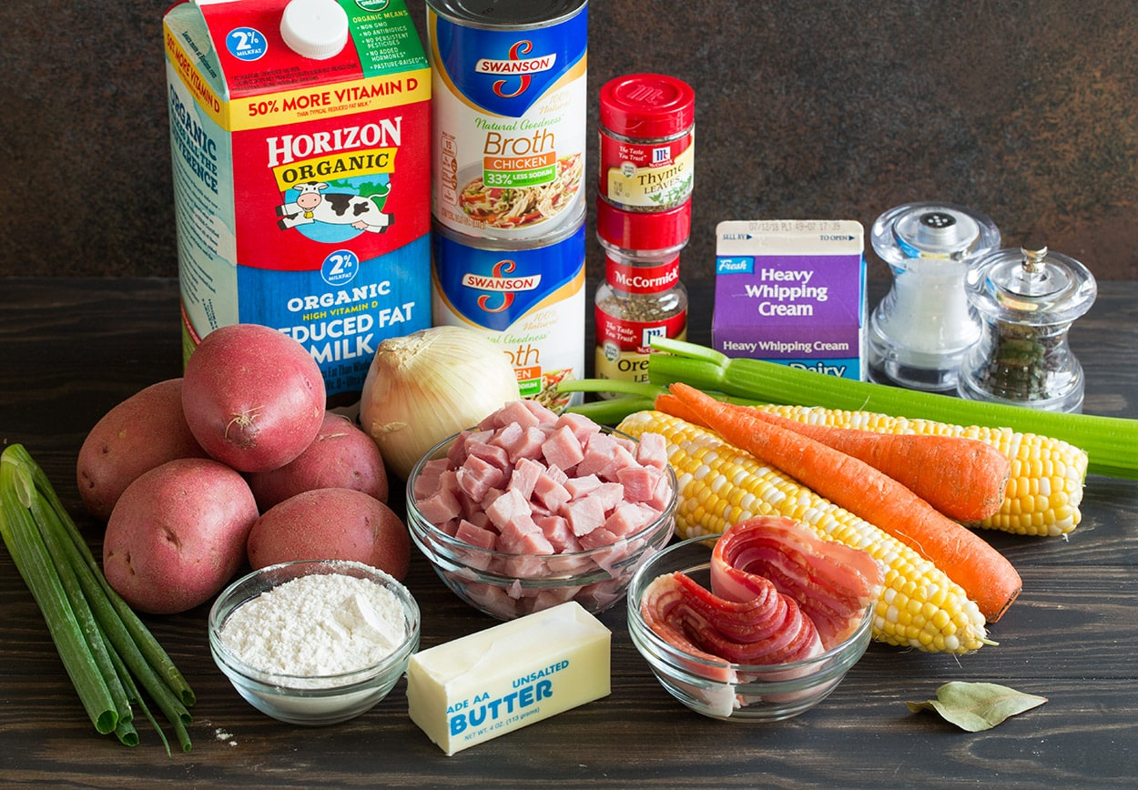 Creamy Ham Potato Corn Chowder ingredients