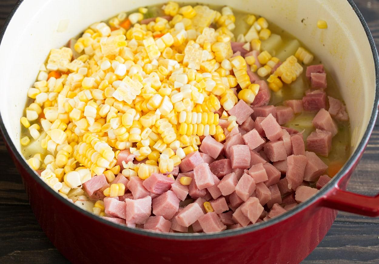 Creamy Ham Potato Corn Chowder adding ham corn