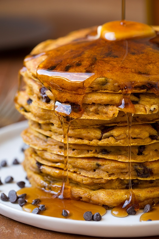 Pumpkin Oat Chocolate Chip Pancakes | Cooking Classy