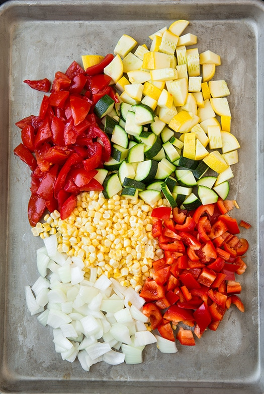 veggie taco ingredients on roasting pan