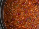 A close up of slow cooker chili